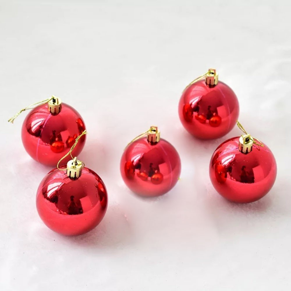 Kit 5 Bolas Pequena Decoração Natal Vermelha Enfeite Árvore