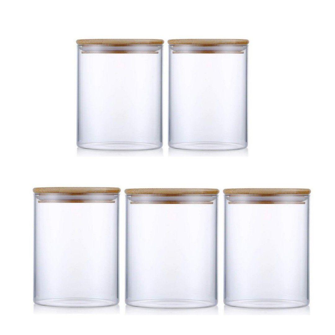 Kit 5 Potes De Vidro Tampa De Bambu Para Mantimentos 480ML