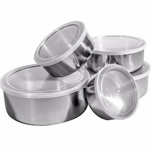 Kit 5 Potes Inox Com Tampa Plástica Redondo Alimentos