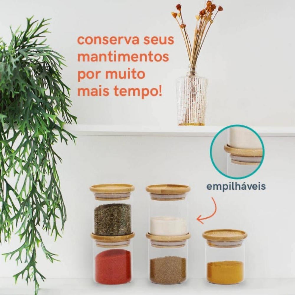 Kit 5 Potes Porta Mantimentos De Vidro Tampa De Bambu 200ML