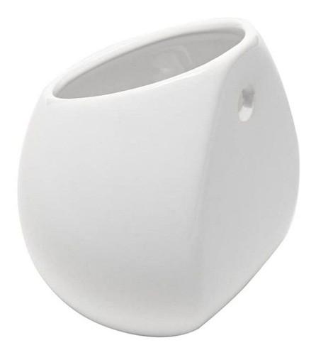 Kit 5 Vasos De Parede Cerâmica Jardim Flores 8x10cm Branco