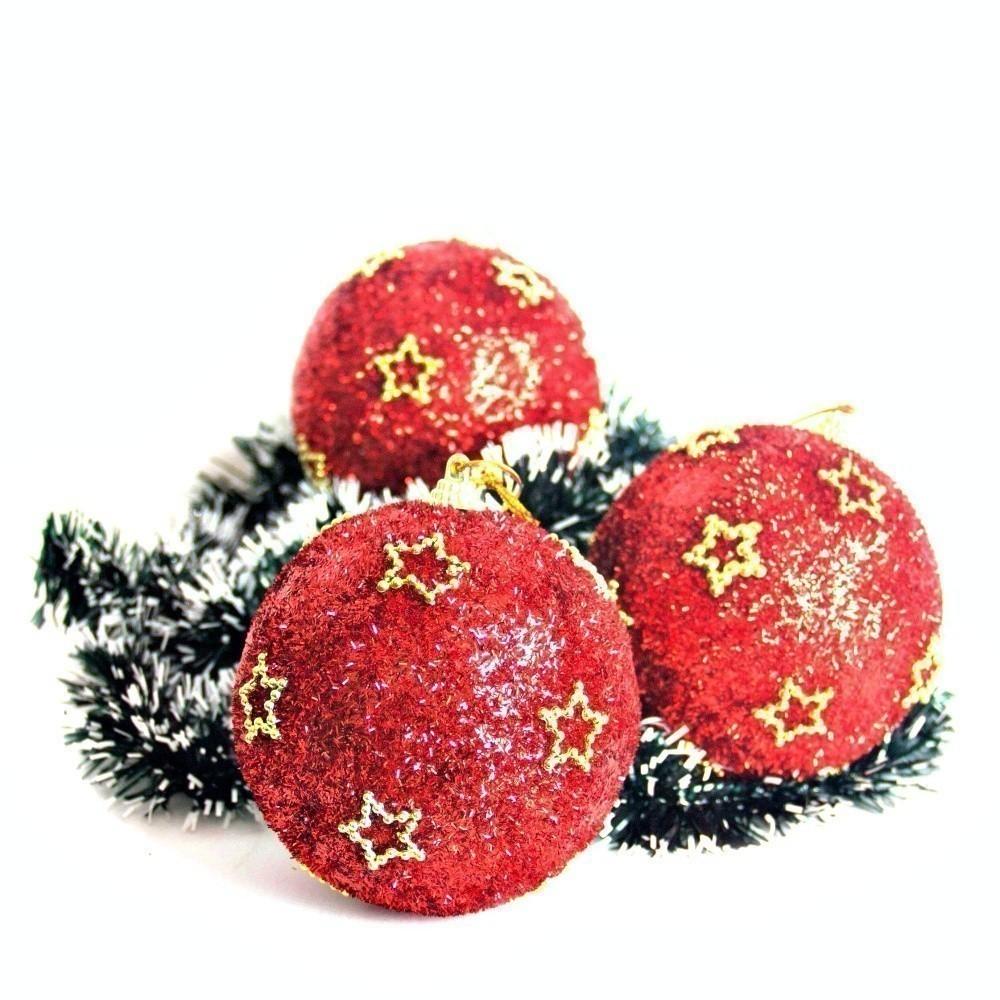 Kit 6 Bolas Para Árvore De Natal Enfeite Decorativa 10cm