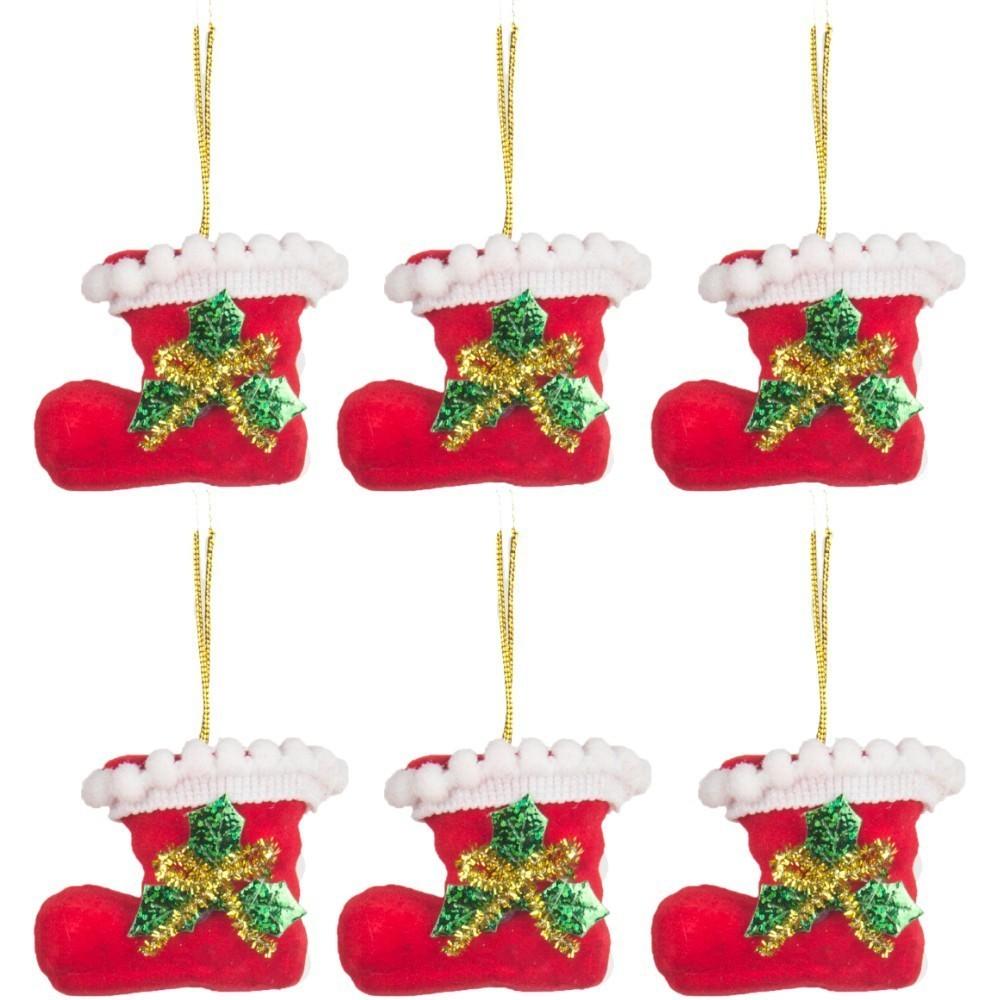 Kit 6 Botas Decorativas Enfeite Decoração De Natal Árvore