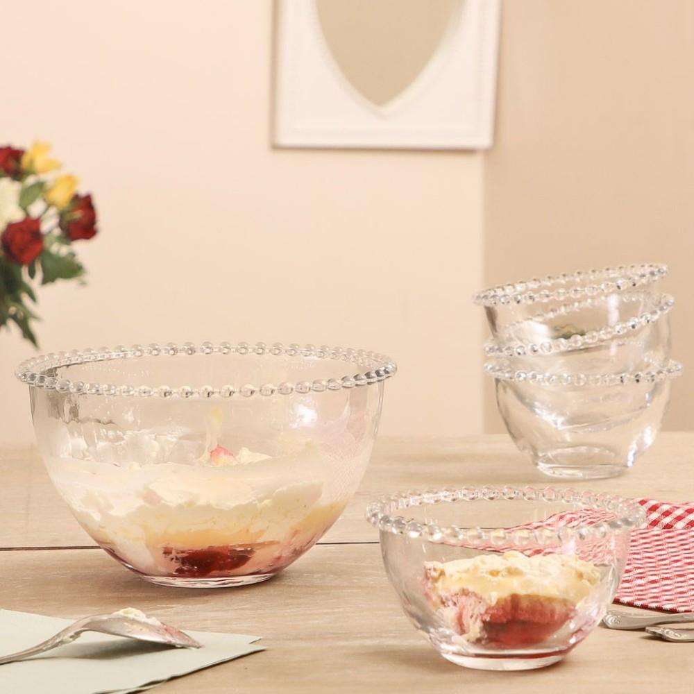 Kit 6 Bowl 400ML E Tigela 1900ML De Cristal Pérola Sobremesa