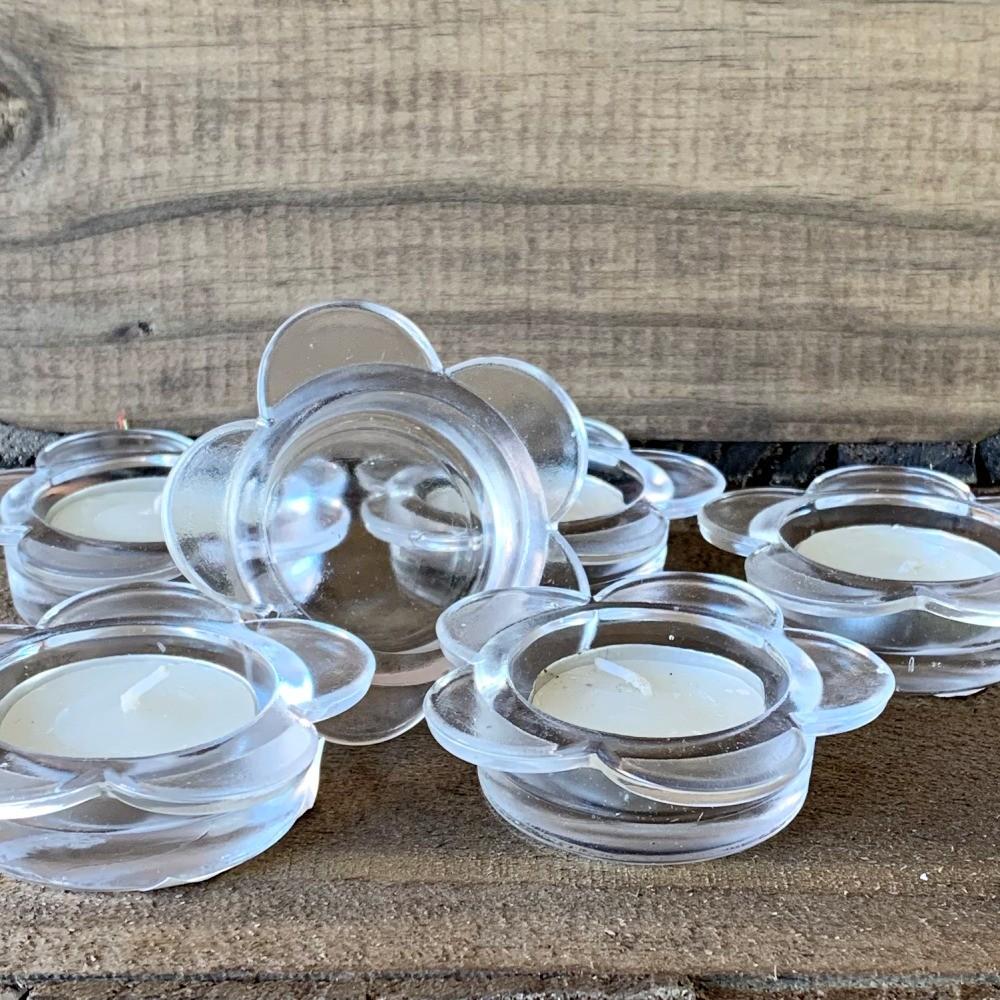 Kit 6 Castiçais De Vidro Porta Velas Em Formato de Flor