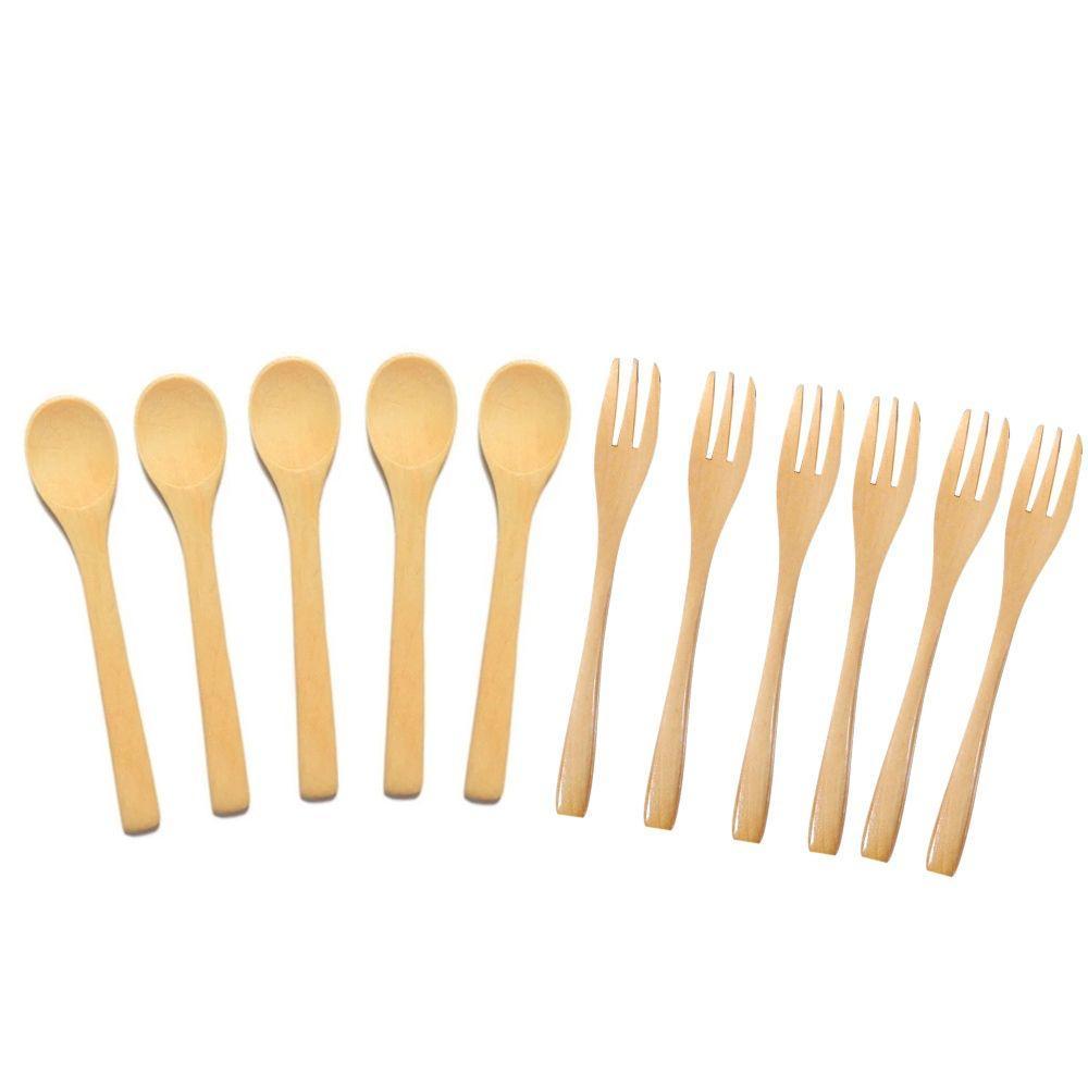 Kit 6 Colheres E 6 Garfos Bambu Cozinha Utensílios Talheres