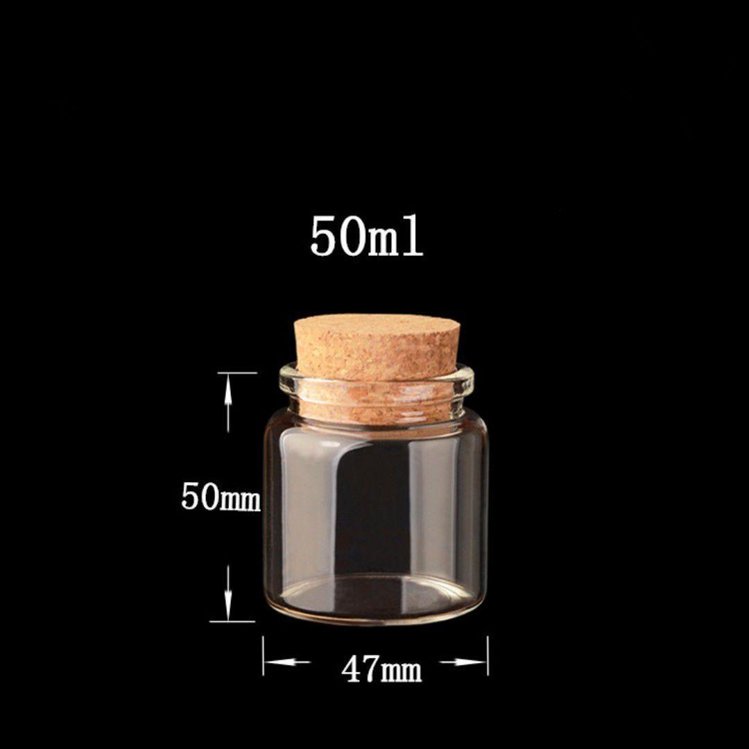 Kit 6 Frascos De Vidro Com Rolha Para Lembrancinha 50ml
