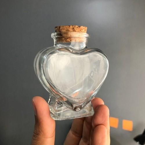 Kit 6 Frascos De Vidro Em Coração Tampa De Rolha 70ml