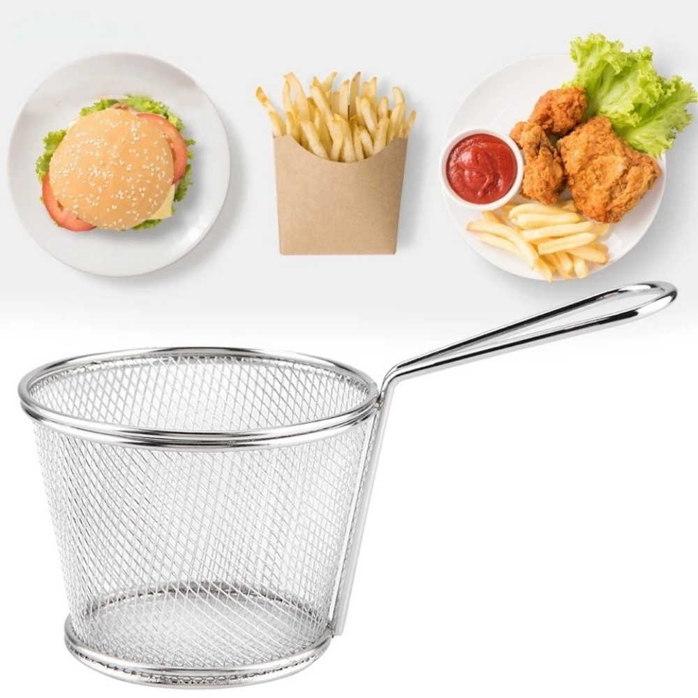 Kit 6 Mini Cestos Inox Batata Frita Porções Frangos Restaurante