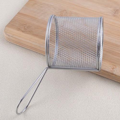 Kit 6 Mini Cestos Inox Para Batata Frita Porções Frangos