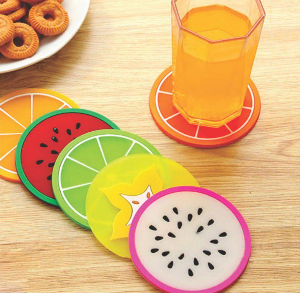 Kit 6 Porta Copos Bolacha De Frutas Mesa Bebidas Bar