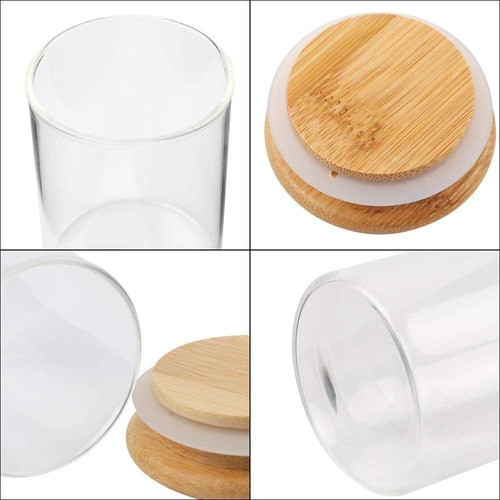 Kit 6 Pote De Vidro Para Mantimentos Com Tampa Bambu 200ML
