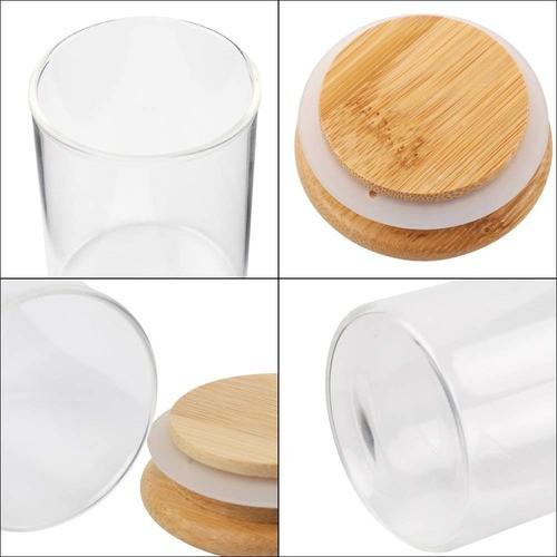 Kit 6 Pote De Vidro Para Mantimentos Com Tampa Bambu 250ML