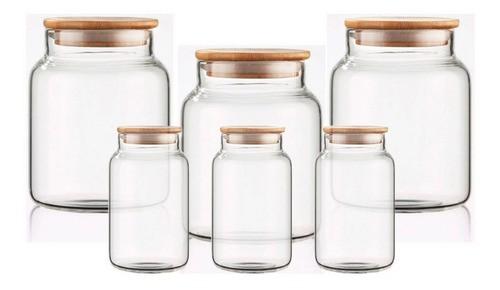 Kit 6 Potes Porta Condimentos Tampa De Bambu 760ml e 250ml