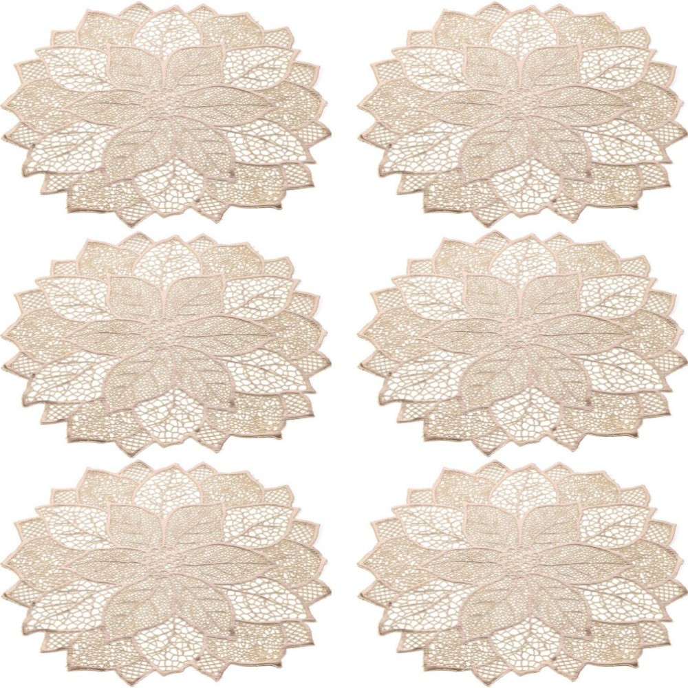 Kit 6 Sousplat De Flor Decorativo Luxo Dourado Mesa Prato