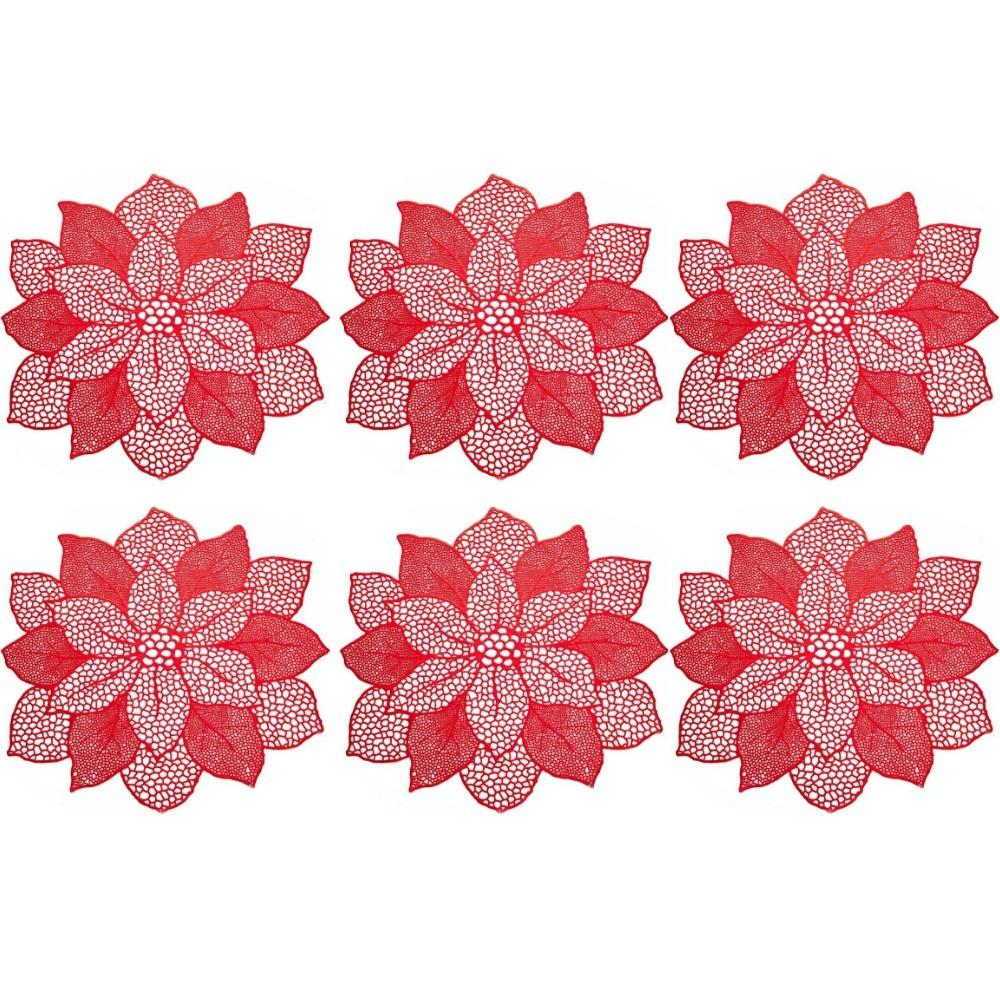 Kit 6 Sousplat De Flor Decorativo Luxo Vermelho Mesa Prato