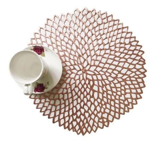 Kit 6 Sousplat Luxo Rose Gold Para Decoração Mesa Prato
