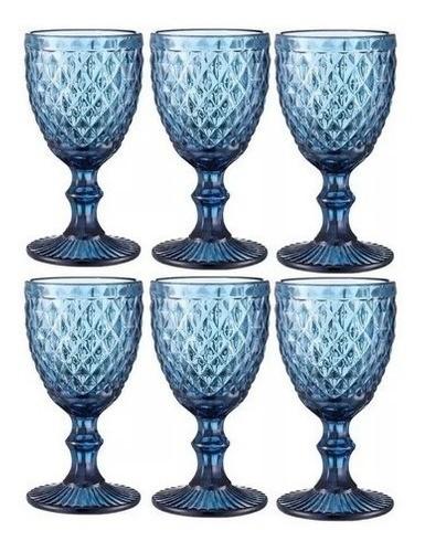 Kit 6 Taças Copo De Vidro Bico De Abacaxi Azul 325ml Azul