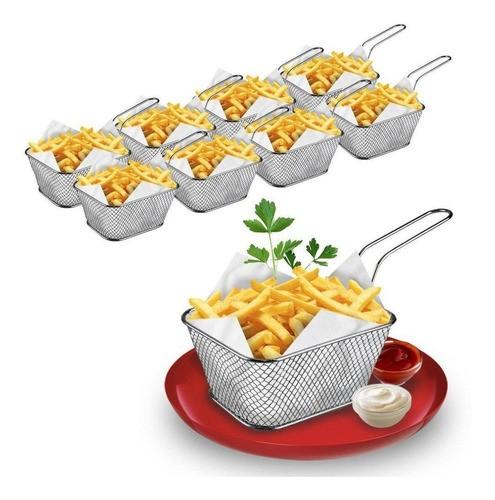 Kit 8 Mini Cestos Batata Frita Porções Frangos Restaurante