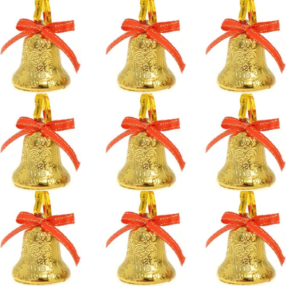 Kit 9 Mini Sinos Decorativos Laços Enfeites Árvore De Natal