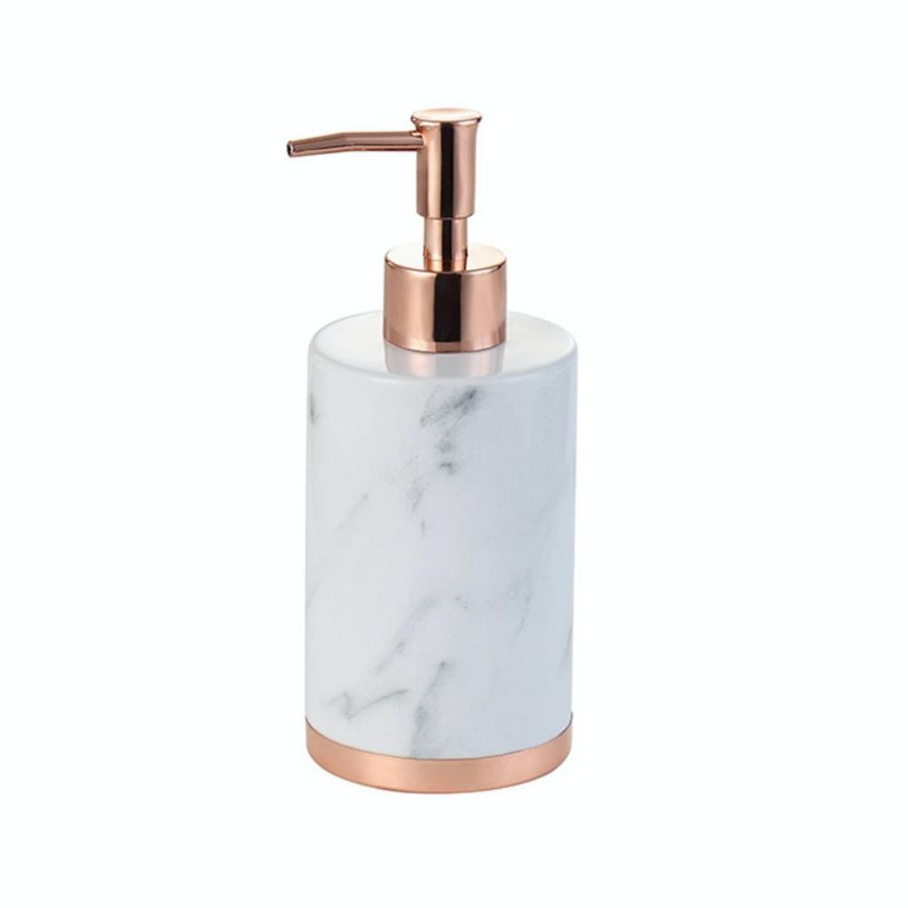 Kit Banheiro Em Cerâmica Mármore Branco E Rose Gold 3 Peças