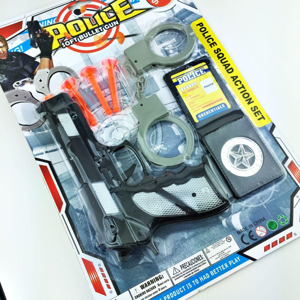 Kit Brinquedo Policial Pistola Distintivo Algema 6 peças