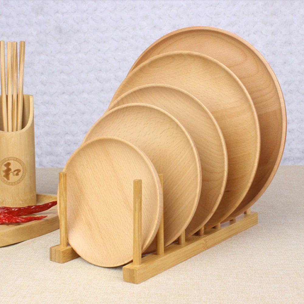 Kit Escorredor De Pratos + Suporte Porta Canecas De Bambu