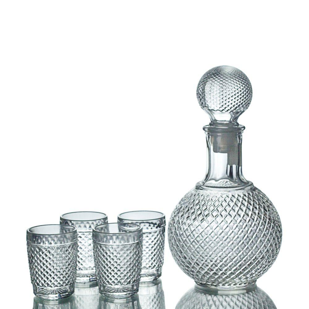 Kit Garrafa + Copos De Vidro Retrô Licor Whisky Decoração