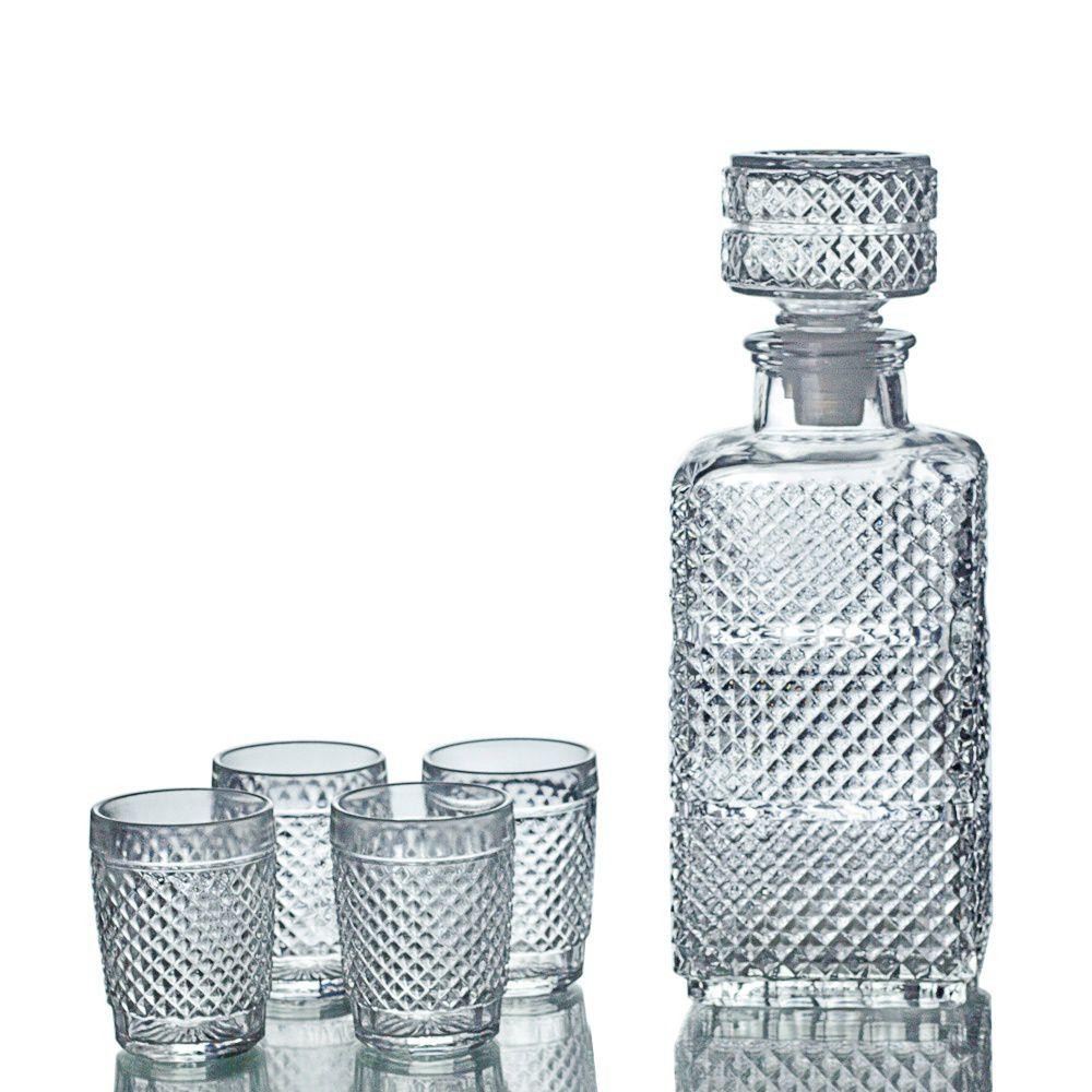 Kit Garrafa + Copos De Vidro Retrô P/ Licor Whisky Decoração