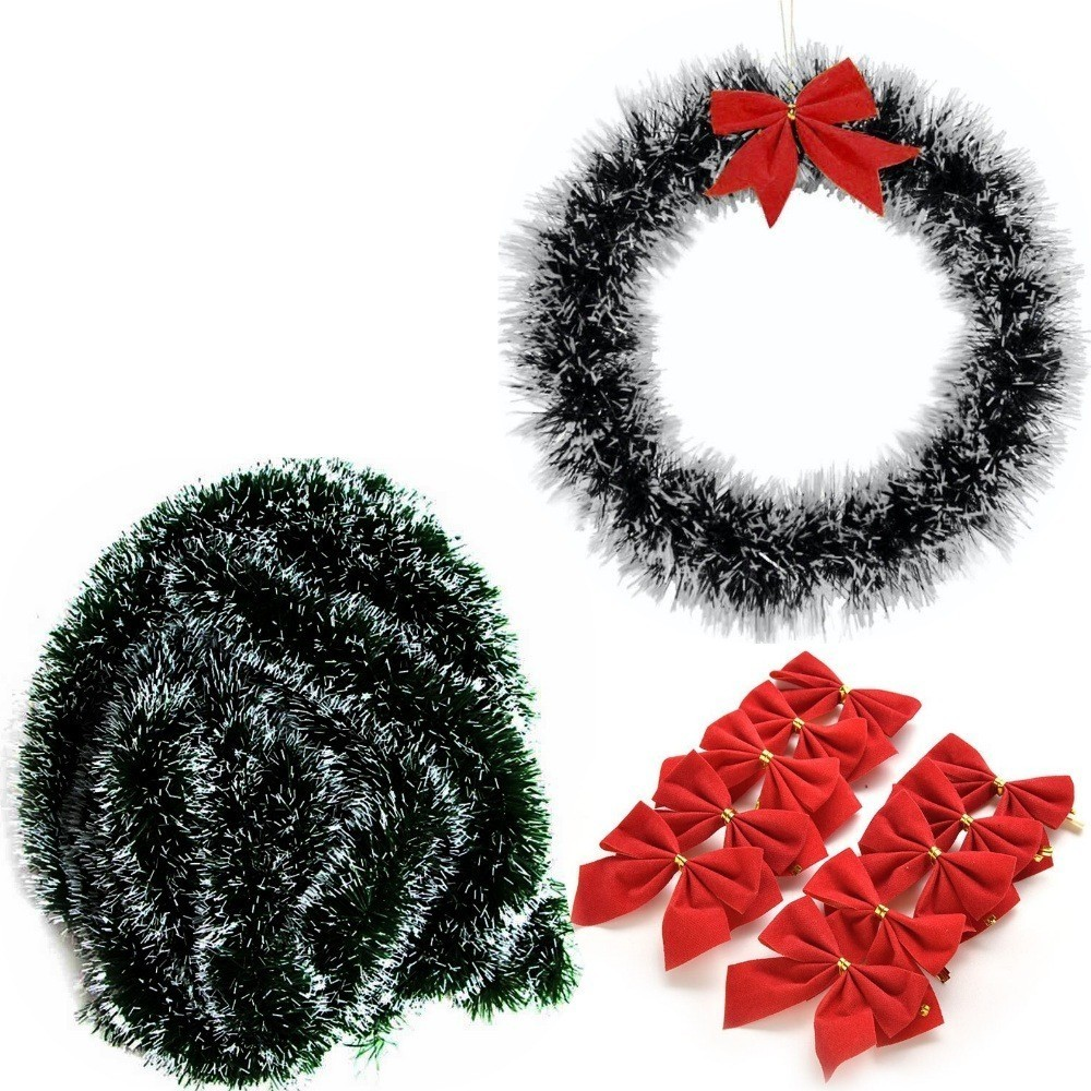 Kit Guirlanda 5 Festão 12 Laços Enfeite Decoração De Natal