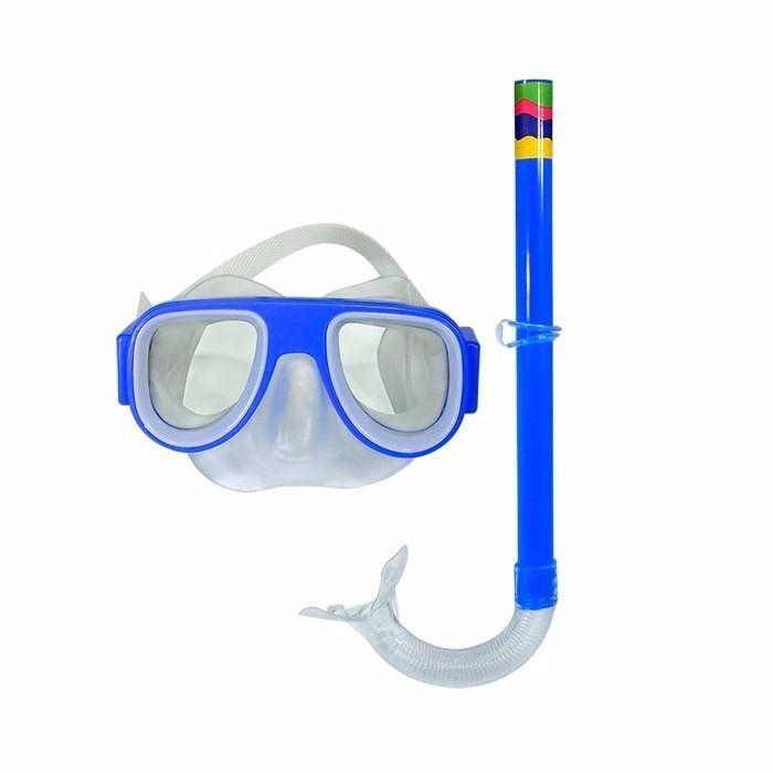 Kit Mergulho Snorkel Mascara Infantil Azul Natação Praia