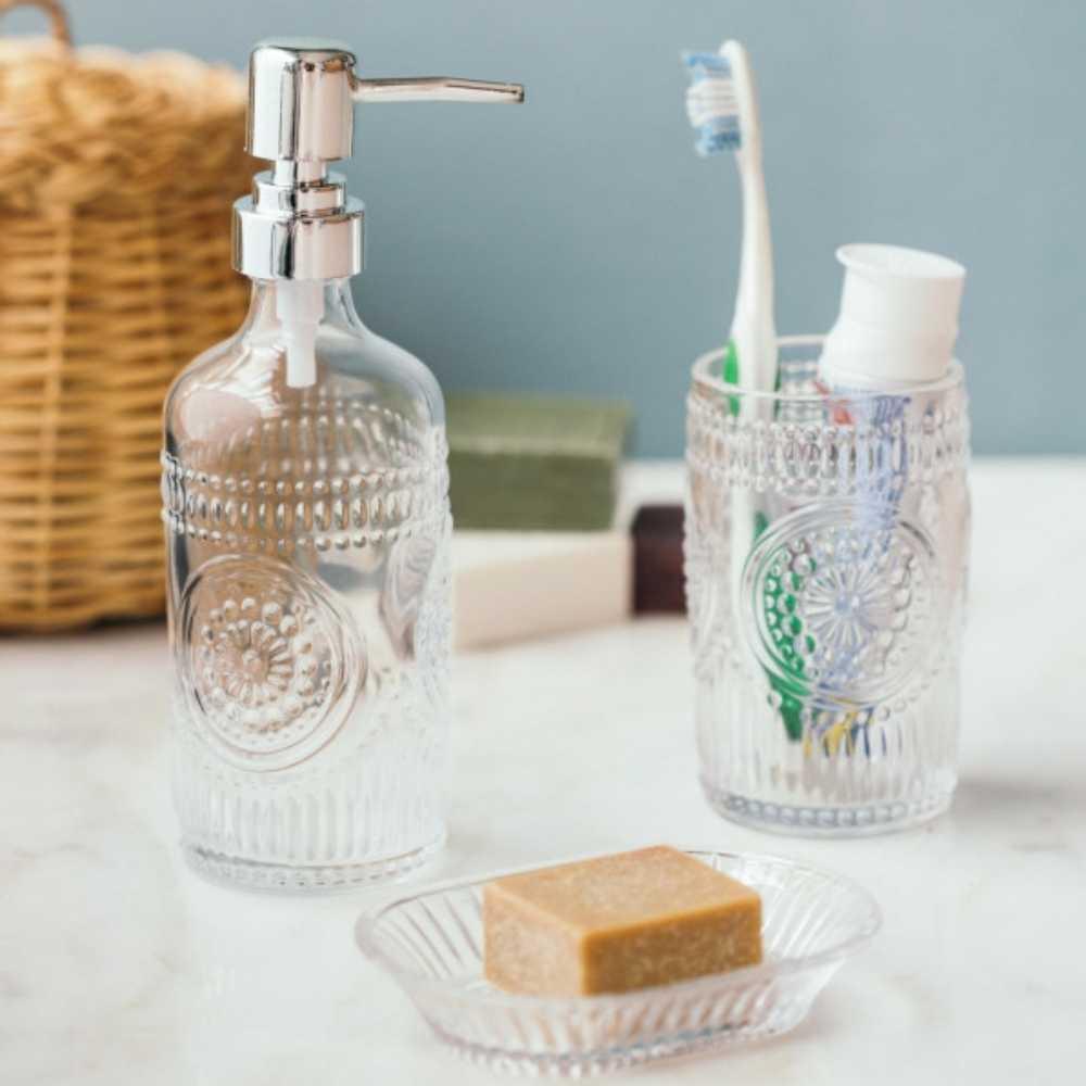 Kit Para Banheiro De Vidro Porta Sabonete  Saboneteira