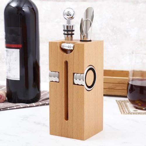 Kit Para Vinho Com Suporte De Madeira Saca Rolhas 7 Peças