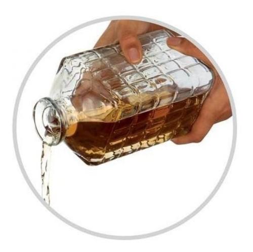 Licoeira Whisky De Vidro Retrô 900Ml Com 4 Copos 150Ml