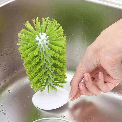 Limpador Para Copo Escova De Pia Com Base Ventosa Verde