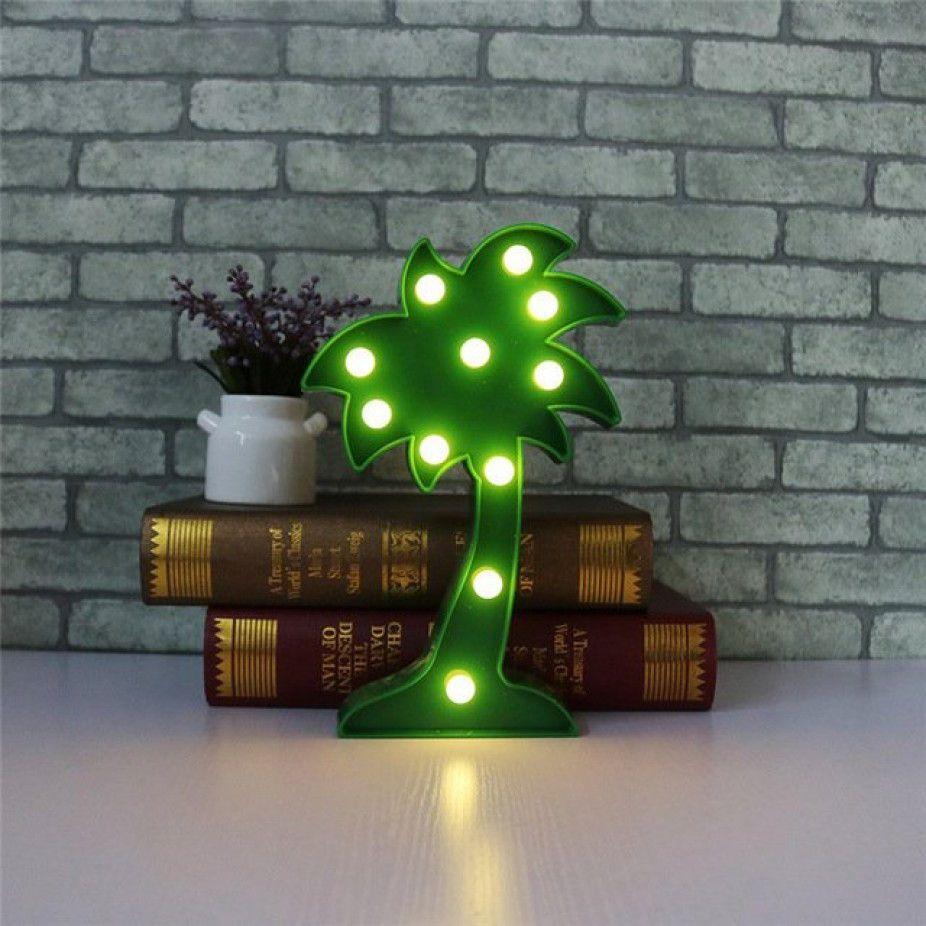 Luminária Abajur Decorativa De Led Coqueiro