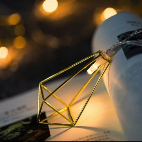 Luminária Cordão de Luz Gold Dourado Geométrico