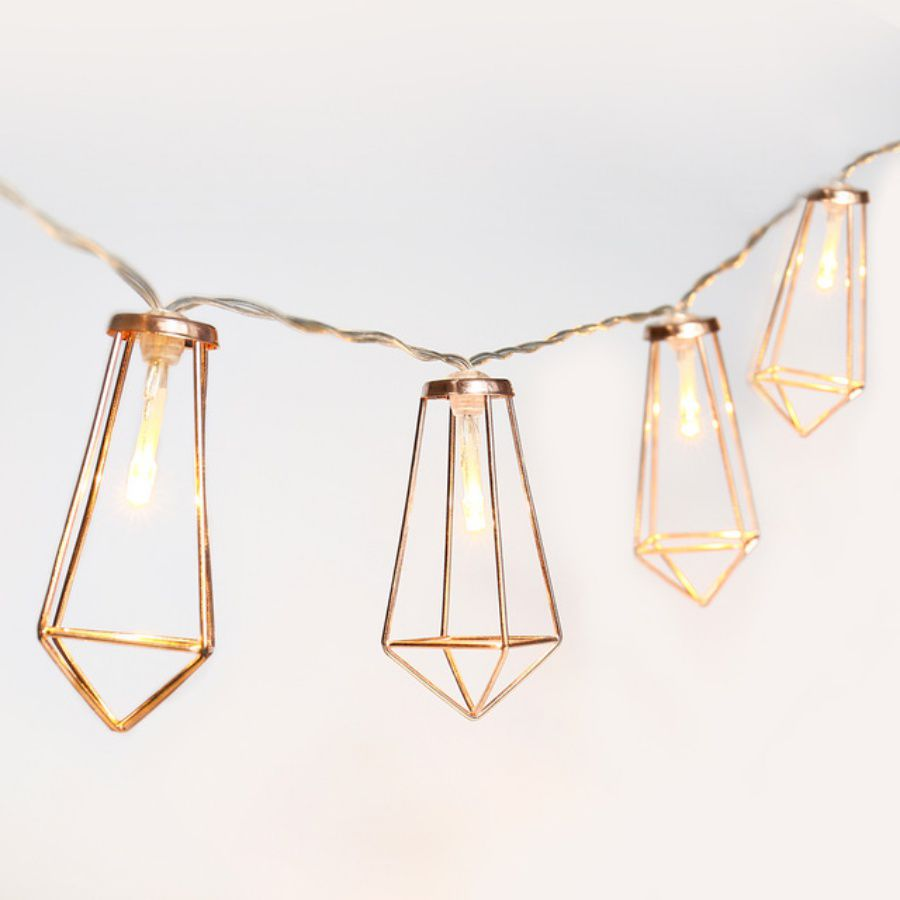 Luminária Cordão de Luz Rose Gold Cobre Geométrico