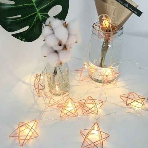 Luminária De Led Varal Cordão Em Formato De Estrela Aramado