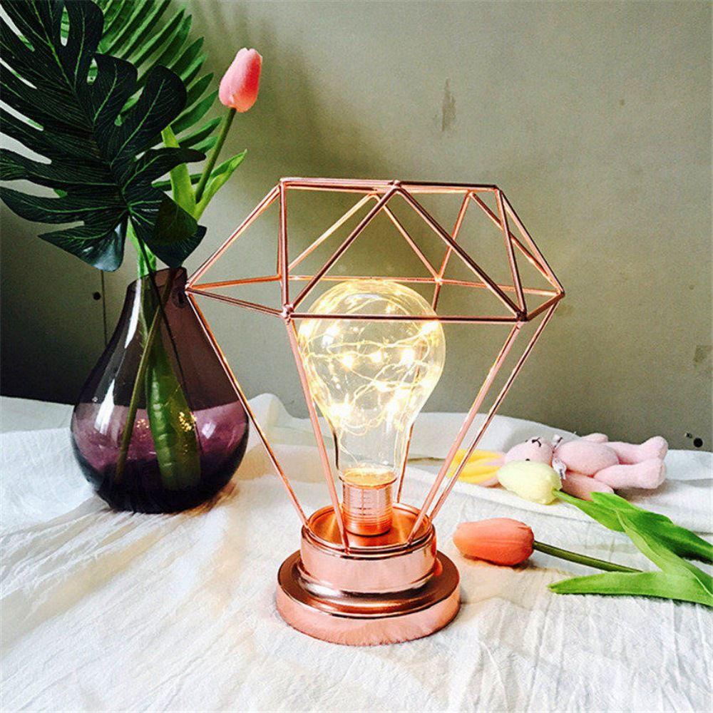 Luminária De Mesa Diamante Cobre Rose Gold Sem Fio