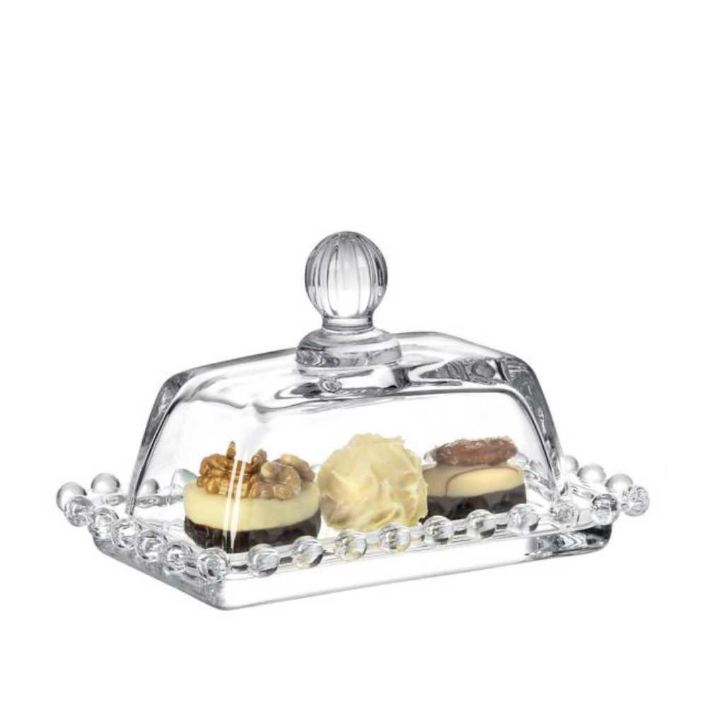Manteigueira De Cristal Pérola Bolinha Premium Retangular