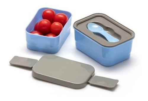Marmita Plástica Prática Fitness Lancheira Pequena Azul