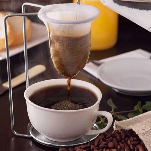 Médio Coador De Café Individual Suporte Com Filtro Pano Mesa
