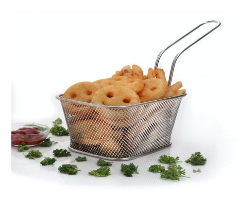Mini Cesto Inox Batata Frita Porções Frangos Churros