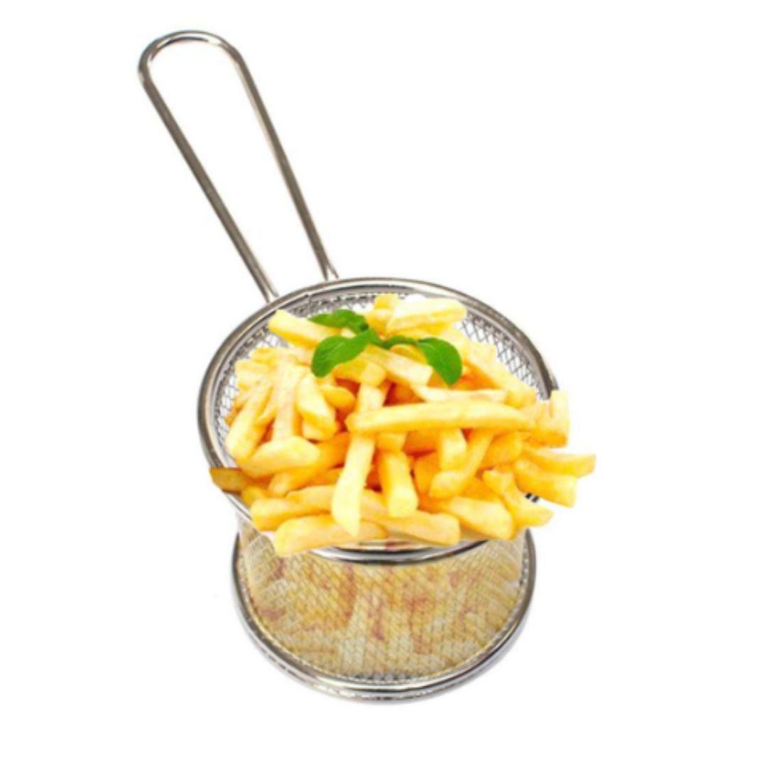 Mini Cesto Inox Para Batata Frita Porções Frangos Redondo