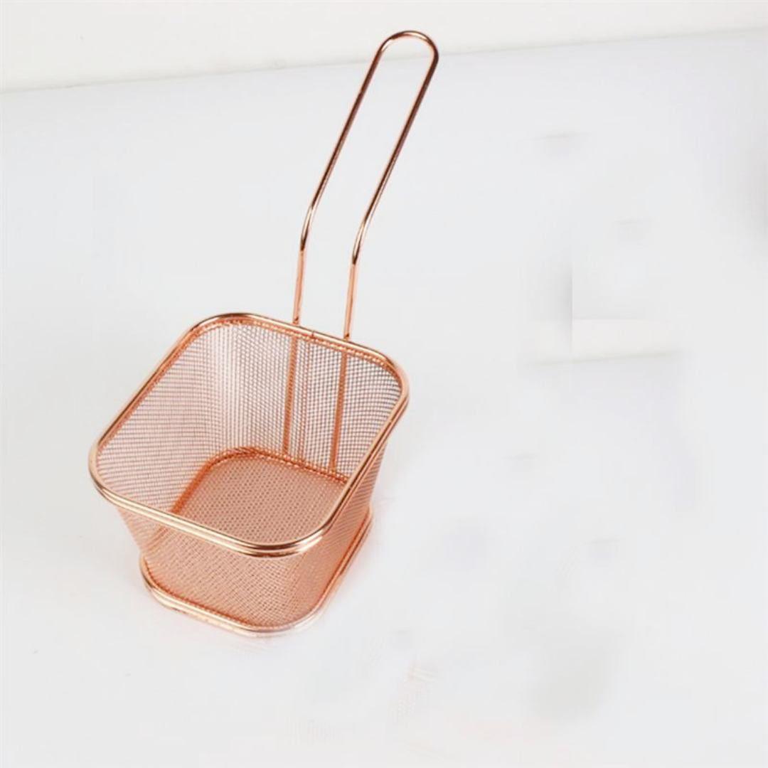 Mini Cesto Inox Para Batata Frita Porções Frangos Rose Gold