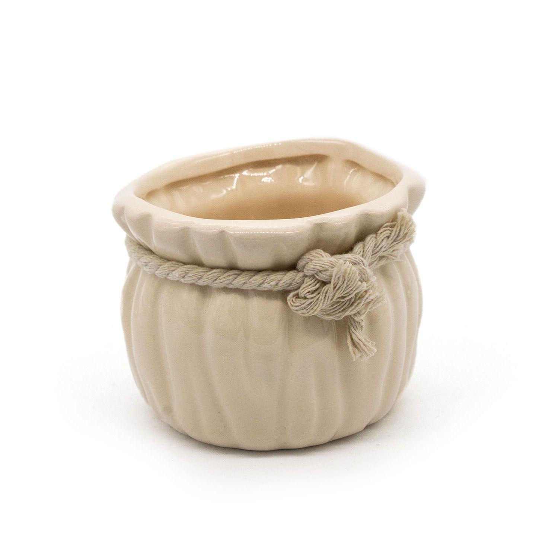 Mini Vaso De Cerâmica Palha Com Colar E Cordão 9x7