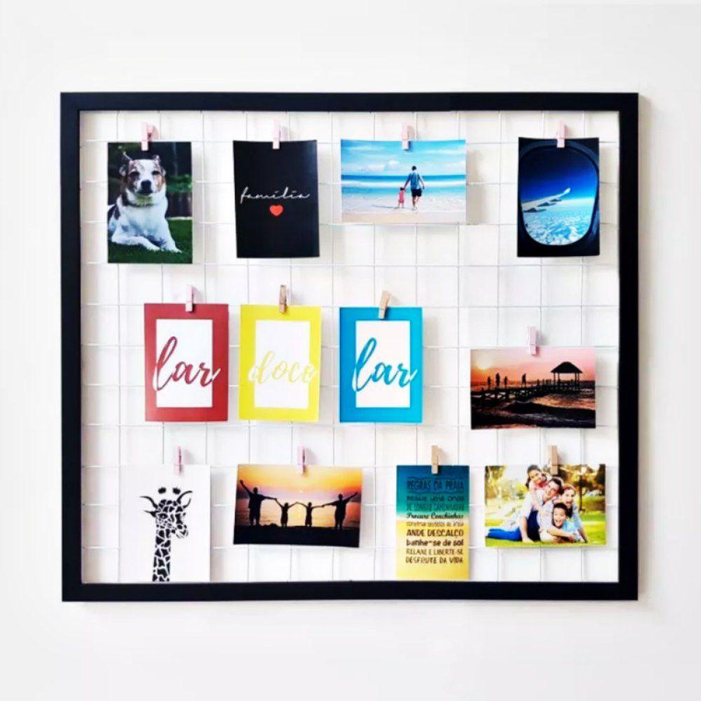 Mural De Fotos Memory Board Aramado Com Moldura 43x43 Cm