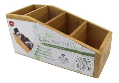 Organizador Porta Treco Suporte Controle Mesa Sofá Bambu