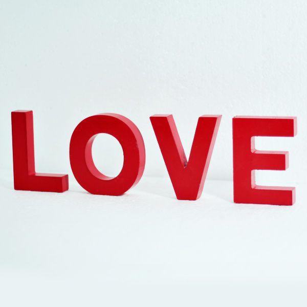 Palavra Love Em Madeira Vermelho Objeto de Decoração